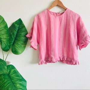 Zara | Pink striped ruffle crop top